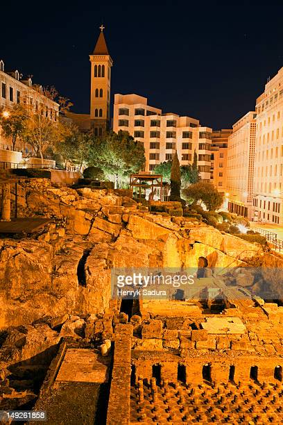lebanon, beirut, roman ruins at night - old beirut stock photos and pictures
