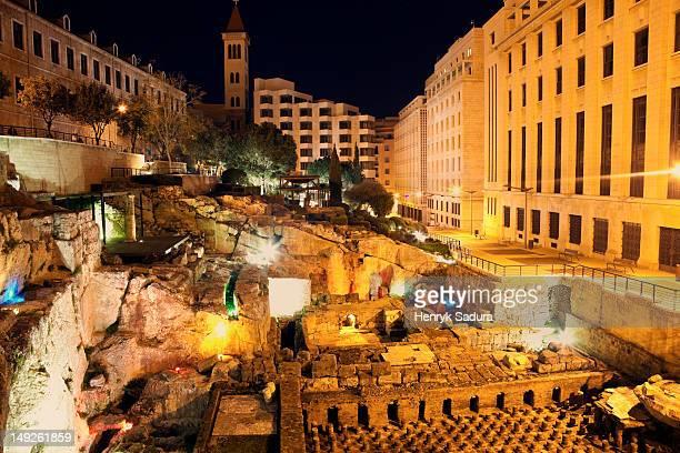 Lebanon, Beirut, Roman ruins at night