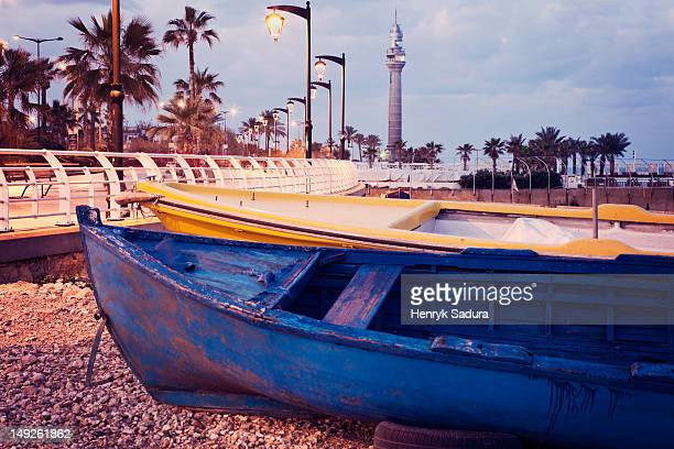lebanon, beirut, small boats on beach - beirut stock pictures, royalty-free photos & images