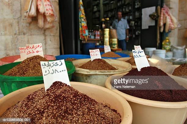 Lebanon, Beirut, Spices for sale in market stall