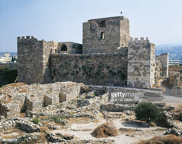 Lebanon, Byblos, Remains of the Medieval city walls and the Crusader castle built by the crusaders in the 12th century