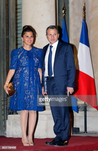 Lebanon foreign minister Gebran Bassil and his wife Chantal Bassil daughter of Lebanese President Michel Aoun arrives for a state dinner with...