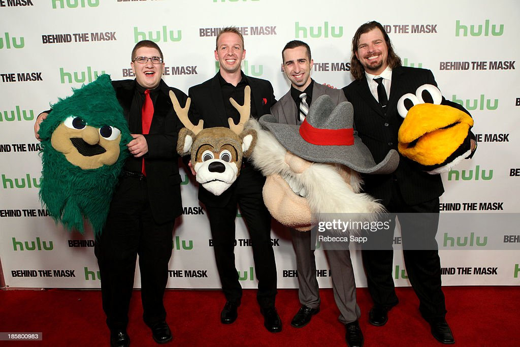 Lebanon High School's Rooty the Cedar Tree mascot Michael Hostetter, NBA's Milwaukee Bucks' Bango mascot Kevin Vanderkolk, UNLV's Hey Reb mascot Jon 'Jersey' Goldman and AHL hockey's Tux the Penguin mascot Chad Spencer at Hulu Presents The LA Premiere Of 'Behind the Mask' at the Vista Theatre on October 24, 2013 in Los Angeles, California.