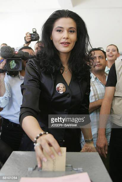 Lebanese Forces parliamentary candidate Sethrida Geagea wife of jailed former Christina warlord Samir Geagea votes in the town of Beshare 19 June...