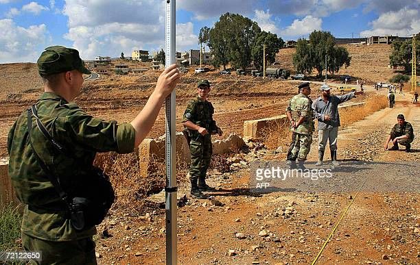 Russian soldiers inspect destroyed Ain Arab bridge in south Lebanon 09 October 2006 Russian soldiers deployed in Lebanon for the first time since the...
