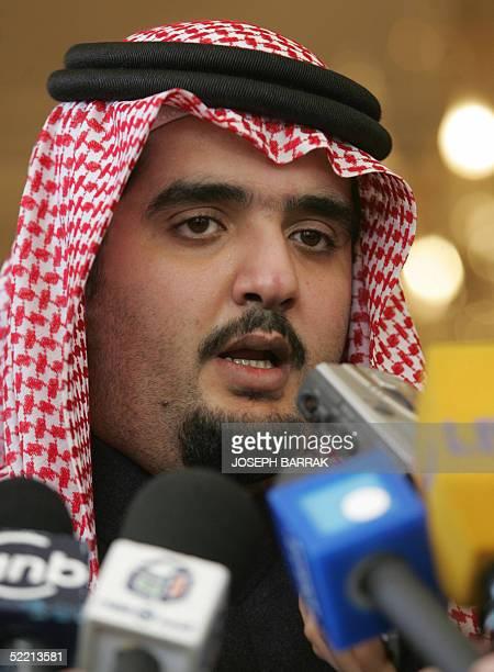 Saudi King Fahd's son Prince Abdulaziz talks to reporters after offering his condolences to the family of Lebanon's slain former prime minister Rafiq...