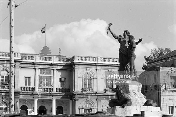 Lebanon War Beyrouth 6 mars 1978 Guerre du Liban Conflits intérieurs attentats et milices la Place des Martyrs au coeur de la ville avec la statue...