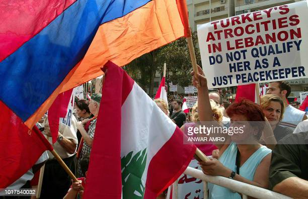 Lebanon's Armenians who have not forgotten the massacres their people suffered under Ottoman rule demonstrate 08 September 2006 against Turkish...