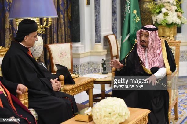 Lebanon's Christian Maronite patriarch Beshara Rai meets with King Salman bin Abdulaziz alSaud on November 14 in Riyadh Saudi Arabia's King Salman...