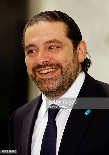 Lebanon's new Prime Minister Saad Hariri speaks to journalists following his nomination at the presidential palace in Baabda near Beirut on November...