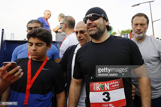 Lebanon's newly nominated premier Saad Hariri takes part in the 14th annual Beirut Marathon on November 13 2016 in the Lebanese capital / AFP / ANWAR...