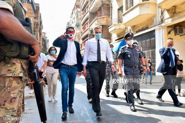 Lebanon's newly-appointed Prime Minister Mustapha Adib visits Beirut's badly-hit Gemmayzeh neighbourhood, on August 31, 2020. - Lebanon's under-fire...