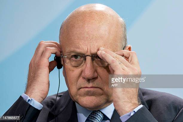 Lebanon's Prime Minister Najib Mikati reacts during a press conference at the Chancellery on July 5 in Berlin. AFP PHOTO / CARSTEN KOALL