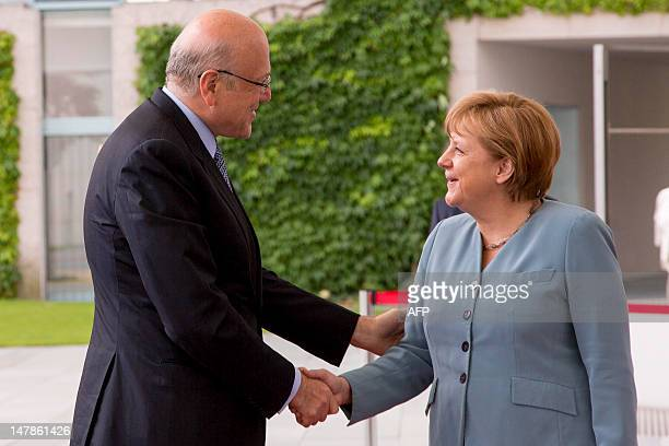 Lebanon's Prime Minister of the Republic of Lebanon, Najib Mikati is welcomed by German Chancellor Angela Merkel at the Chancellory on July 05, 2012...