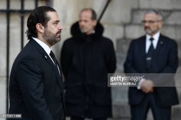 Lebanon's Prime Minister Saad Hariri arrives to attend a church service for former French President Jacques Chirac at the SaintSulpice church in...