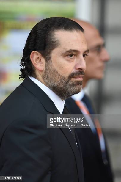 Lebanon's Prime Minister Saad Hariri arrives to attend a church service for former French President Jacques Chirac at Eglise SaintSulpice on...