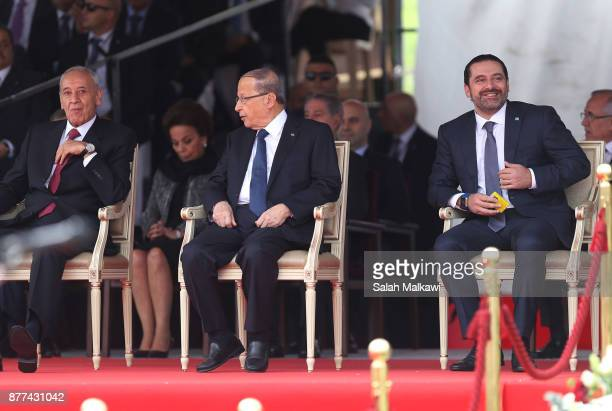Lebanon's prime minister Saad Hariri attends the Independence Day ceremony on November 22 2017 in Beirut Lebanon Hariri arrived early Wednesday to...
