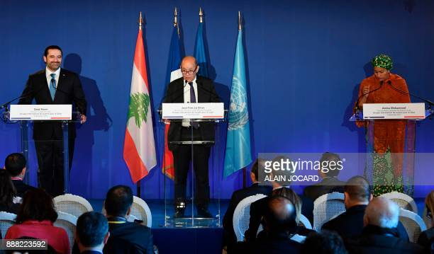 Lebanon's Prime Minister Saad Hariri French Minister for Europe and Foreign Affairs JeanYves Le Drian and UN Deputy Secretary General Amina Mohammed...