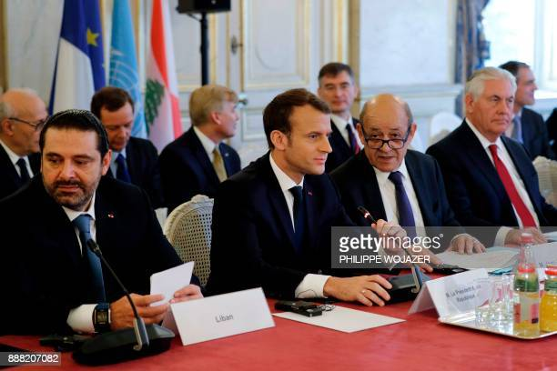 Lebanon's Prime Minister Saad Hariri French President Emmanuel Macron French Minister for Europe and Foreign Affairs JeanYves Le Drian and US...
