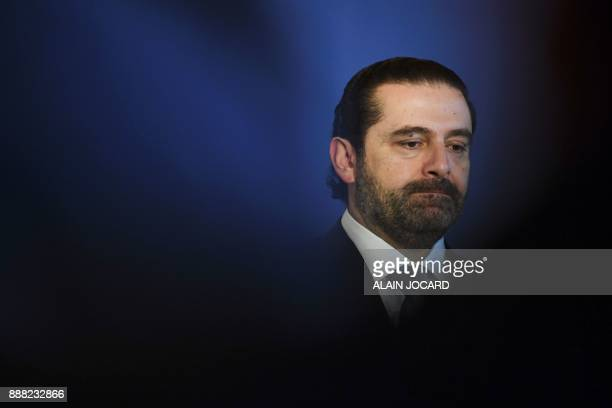 TOPSHOT Lebanon's Prime Minister Saad Hariri gives a press conference during the Lebanon International Support Group meeting in Paris on December 8...
