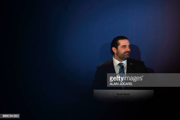 Lebanon's Prime Minister Saad Hariri gives a press conference during the Lebanon International Support Group meeting in Paris on December 8 2017 /...