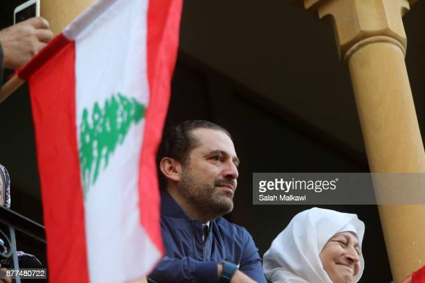 Lebanon's Prime Minister Saad Hariri makes a public appearance at his home Beit alWasat November 22 2017 in Beirut Lebanon Hariri arrived early...