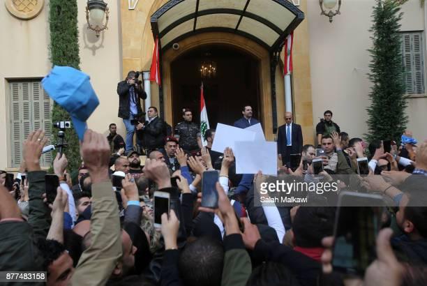 Lebanon's Prime Minister Saad Hariri makes a public appearance at his home Beit alWasat November 22 2017 in Beirut Lebanon Hariri arrived early...