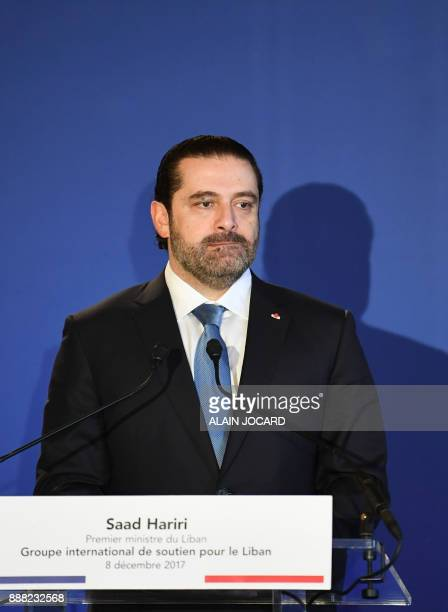 Lebanon's Prime Minister Saad Hariri speaks during the Lebanon International Support Group meeting in Paris on December 8 2017 / AFP PHOTO / ALAIN...