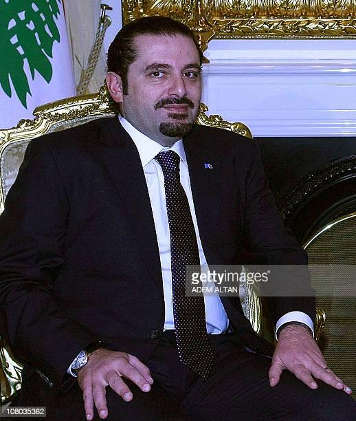 Lebanon's Prime Pinister Saad Hariri attends a meeting with his Turkish counterpart Recep Tayyip Erdogan in Ankara on January 14 2011 Hariri is in...