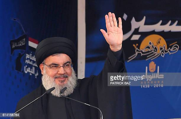 Lebanon's Shiite movement Hezbollah's leader Hassan Nasrallah addresses a crowd during commemorations for Ashura in a southern Beirut suburb on...