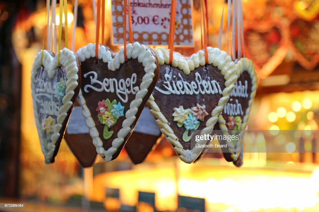 Lebkuchenherzen heart-shaped gingerbread cookies for sale at the Lübeck Christmas Market, Germany.