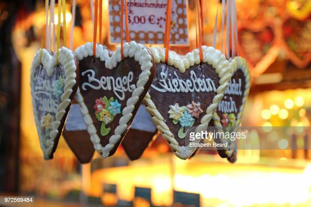 Lebkuchenherzen heart-shaped gingerbread cookies at the Lubeck Christmas Market