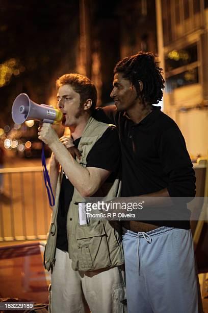 Leblon, Rio de Janeiro - Protests in front of the house of the governor, Sérgio Cabral, in Leblon, Rio de Janeiro. Protestos em frente à casa do...