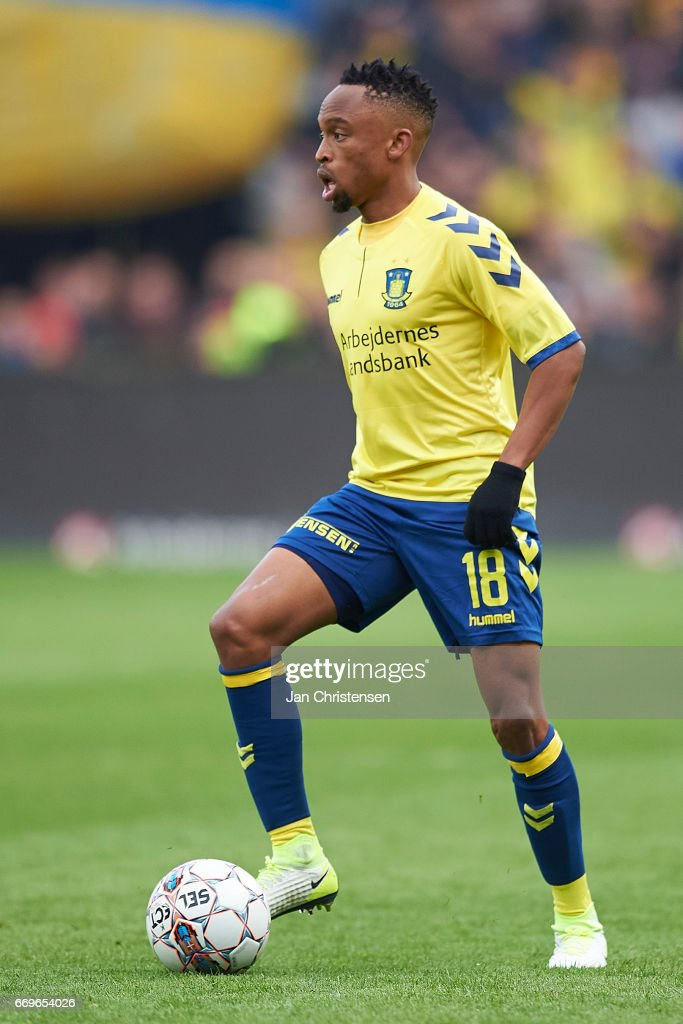 Lebogang Phiri of Brondby IF controls the ball during the Danish Alka Superliga match between Brondby IF and FC Midtjylland at Brondby Stadion on April 17, 2017 in Brondby, Denmark.
