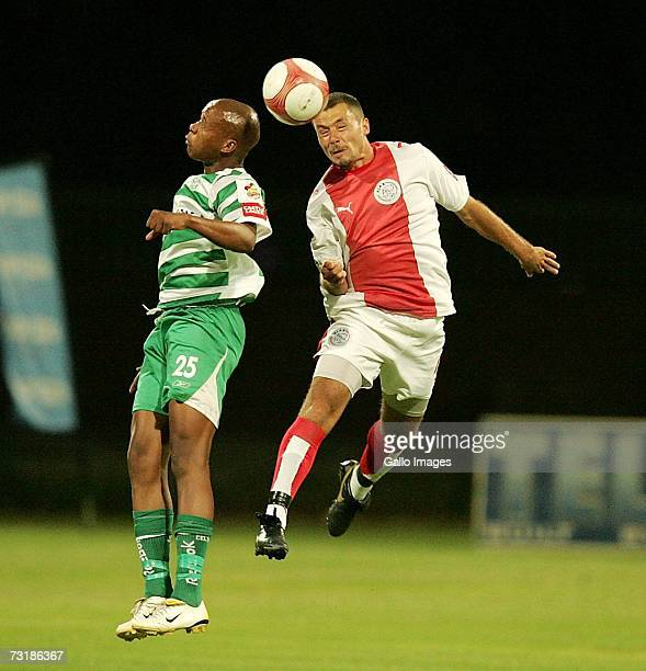 Lebohang Mothibantwa and Brett Evans during the PSL match between Ajax Cape Town and Bloemfontein Celtic on February 2 2007 at Athlone Stadium in...