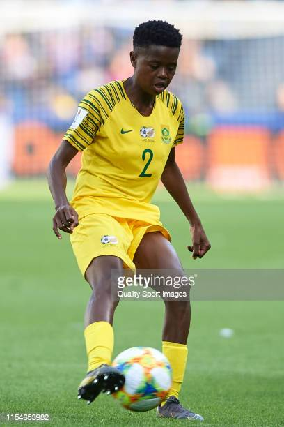 Lebohang Ramalepe of South Africa in action during the 2019 FIFA Women's World Cup France group B match between Spain and South Africa at Stade...