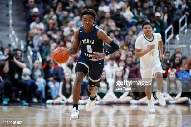 LeBron 'Bronny' James Jr #0 of Sierra Canyon High School dribbles the ball up court during the Ohio Scholastic PlayByPlay Classic against St...