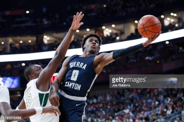 LeBron 'Bronny' James Jr #0 of Sierra Canyon High School drives to the basket during the Ohio Scholastic PlayByPlay Classic against St VincentSt Mary...