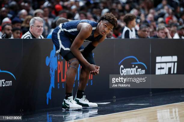 LeBron 'Bronny' James Jr #0 of Sierra Canyon High School looks on during the Ohio Scholastic PlayByPlay Classic against St VincentSt Mary High School...