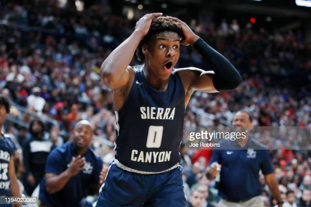 LeBron 'Bronny' James Jr #0 of Sierra Canyon High School reacts during the Ohio Scholastic PlayByPlay Classic against St VincentSt Mary High School...