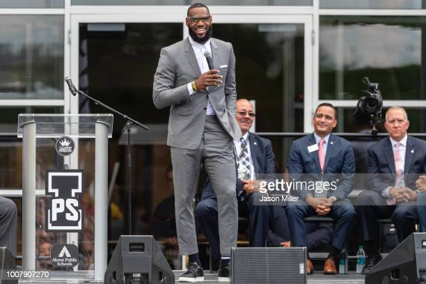 LeBron James addresses the crowd during the opening ceremonies of the I Promise School on July 30, 2018 in Akron, Ohio.