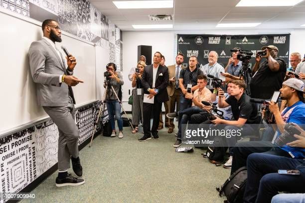 LeBron James addresses the media after the opening ceremonies of the I Promise School on July 30, 2018 in Akron, Ohio. The School is a partnership...