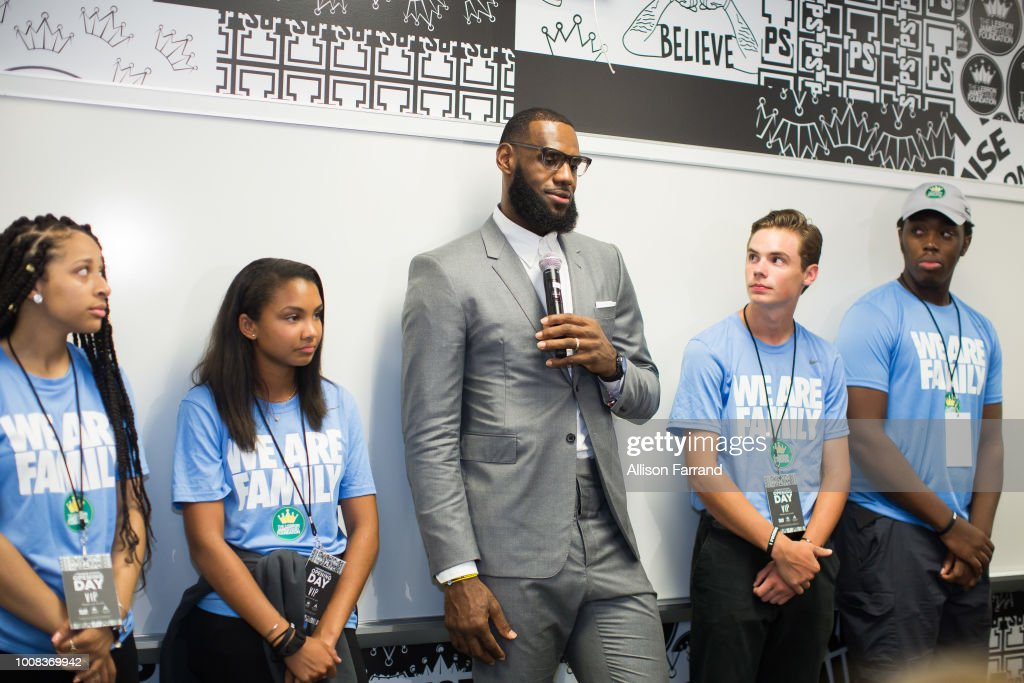 LeBron James addresses the media following the grand opening of the I Promise school on July 30, 2018 in Akron, Ohio. The new school is a partnership between the LeBron James Family foundation and Akron Public Schools.