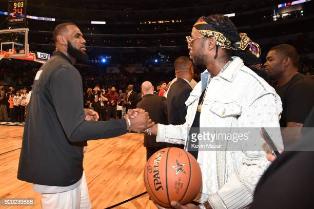 LeBron James and 2 Chainz at the 67th NBA AllStar Game Team LeBron Vs Team Stephen at Staples Center on February 18 2018 in Los Angeles California