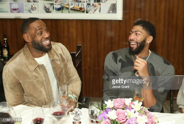 Lebron James and Anthony Davis attend the Haute Living Honors LA Lakers Superstar Anthony Davis With XO And Louis XIII event at Mr. C Beverly Hills...