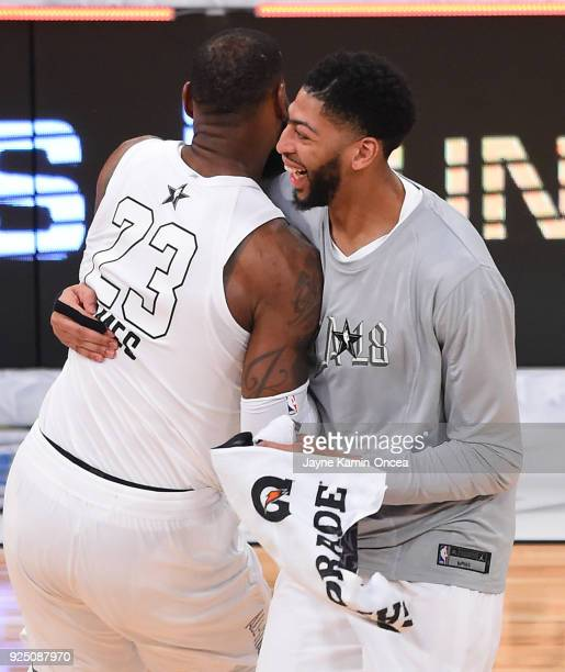 LeBron James and Anthony Davis of Team LeBron celebrate after winning the NBA AllStar Game 2018 at Staples Center on February 18 2018 in Los Angeles...