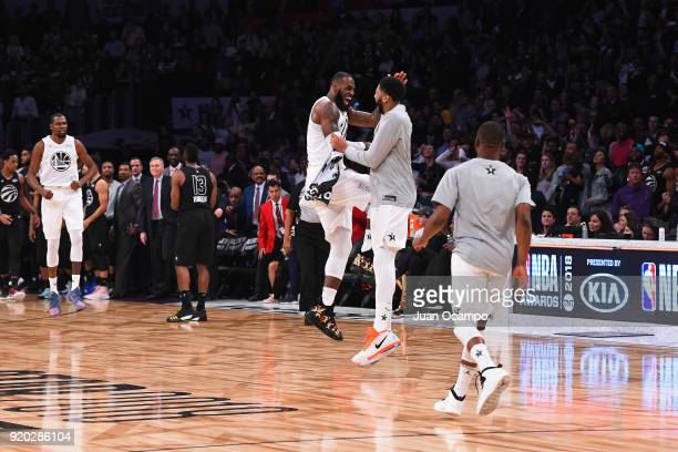 LeBron James and Anthony Davis of Team LeBron celebrate during the NBA AllStar Game as a part of 2018 NBA AllStar Weekend at STAPLES Center on...