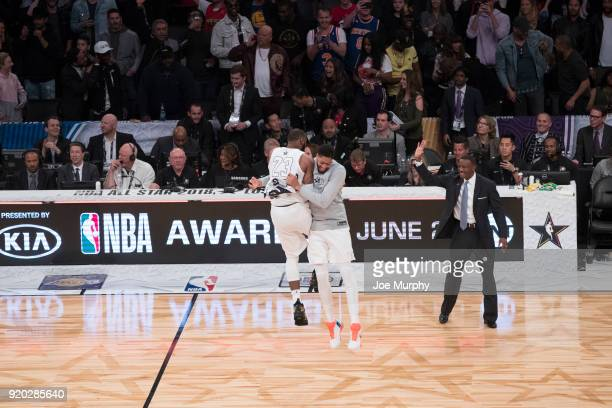 LeBron James and Anthony Davis of Team LeBron celebrates after the game against Team Stephen during the NBA AllStar Game as a part of 2018 NBA...