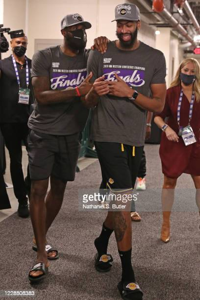 LeBron James and Anthony Davis of the Los Angeles Lakers celebrate after winning Game Five of the Western Conference Finals of the NBA Playoffs...