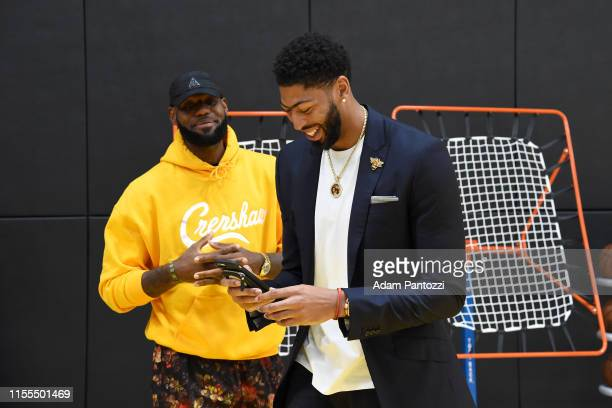 Lebron James and Anthony Davis of the Los Angeles Lakers during a press conference on July 13 2019 at the UCLA Health Training Center in El Segundo...
